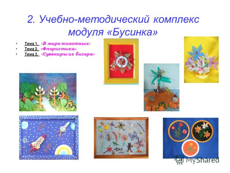 2. Учебно-методический комплекс модуля «Бусинка» Тема 1. «В мире животных» Тема 2. «Флористика» Тема 3. «Сувениры из бисера»
