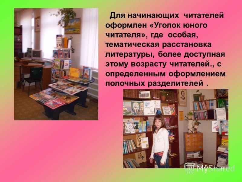 Для начинающих читателей оформлен «Уголок юного читателя», где особая, тематическая расстановка литературы, более доступная этому возрасту читателей., с определенным оформлением полочных разделителей.