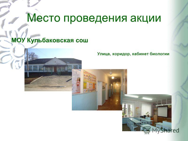 Место проведения акции МОУ Кульбаковская сош Улица, коридор, кабинет биологии