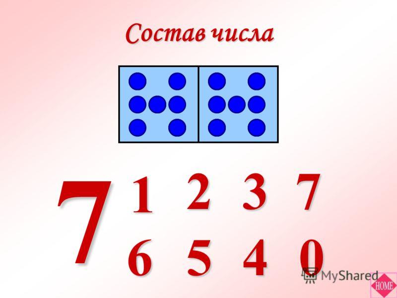 Состав числа 6 7 1 5 23 40 7