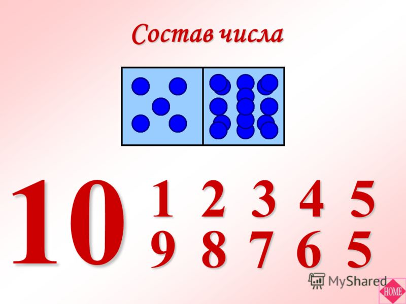 Состав числа 1 98 2 7 3 6 4 5 5 10