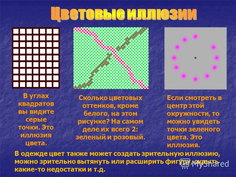 В углах квадратов вы видите серые точки. Это иллюзия цвета. Сколько цветовых оттенков, кроме белого, на этом рисунке? На самом деле их всего 2: зеленый и розовый. Если смотреть в центр этой окружности, то можно увидеть точки зеленого цвета. Это иллюз