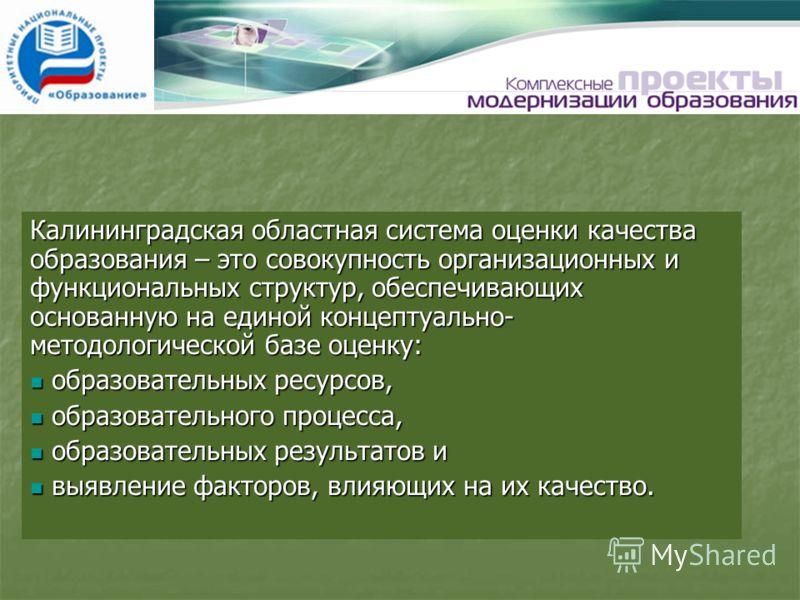 Калининградская областная система оценки качества образования – это совокупность организационных и функциональных структур, обеспечивающих основанную на единой концептуально- методологической базе оценку: образовательных ресурсов, образовательных рес