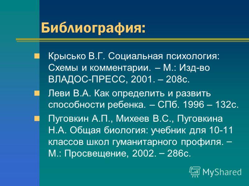Библиография: Крысько В.Г.