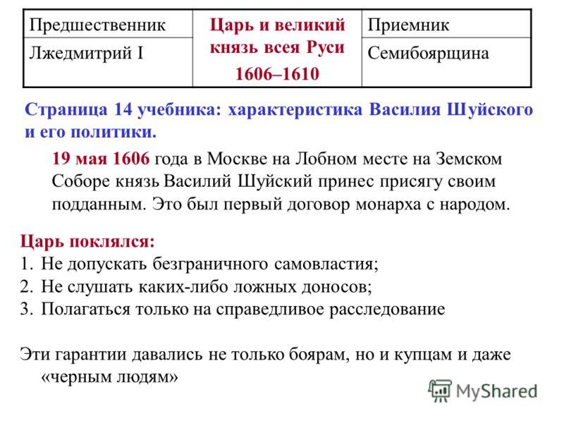 ПредшественникЦарь и великий князь всея Руси 1606–1610 Приемник Лжедмитрий IСемибоярщина 19 мая 1606 года в Москве на Лобном месте на Земском Соборе князь Василий Шуйский принес присягу своим подданным. Это был первый договор монарха с народом. Царь