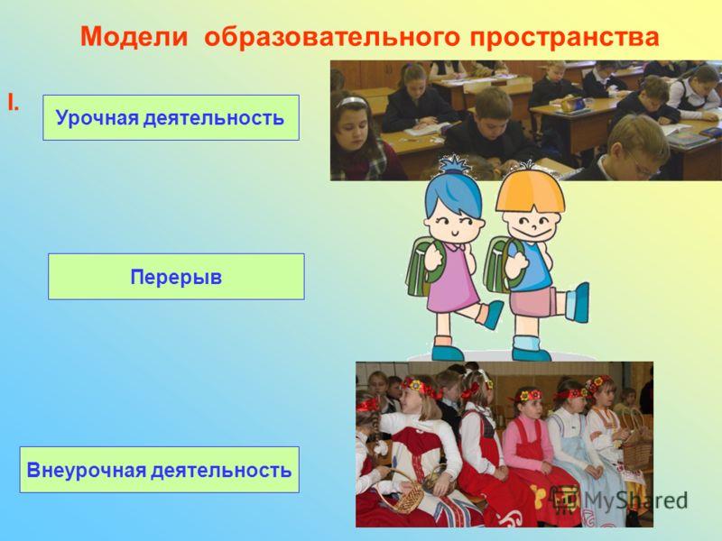 Модели образовательного пространства I. Урочная деятельность Перерыв Внеурочная деятельность