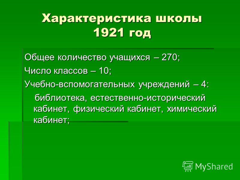 Характеристика школы 1921 год Общее количество учащихся – 270; Число классов – 10; Учебно-вспомогательных учреждений – 4: библиотека, естественно-исторический кабинет, физический кабинет, химический кабинет; библиотека, естественно-исторический кабин