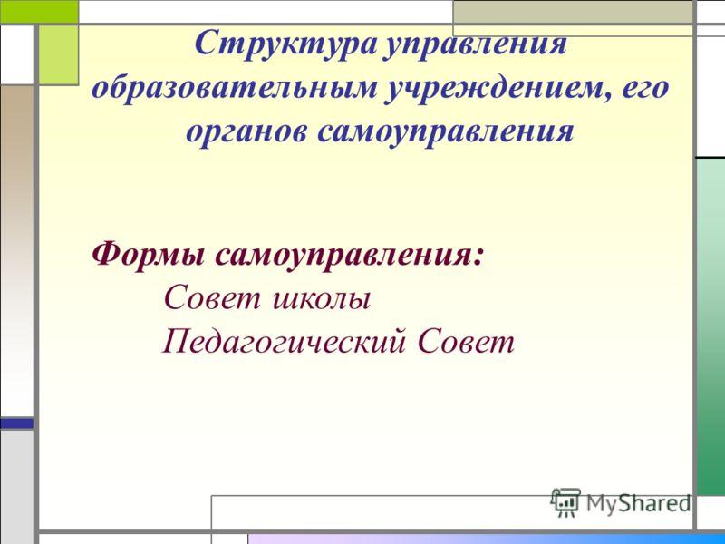 Структура управления образовательным учреждением, его органов самоуправления Формы самоуправления: Совет школы Педагогический Совет