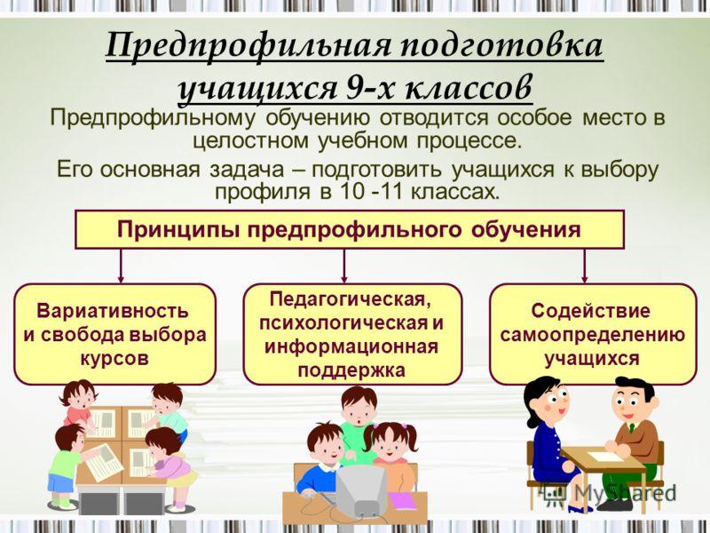 Предпрофильная подготовка учащихся 9-х классов Предпрофильному обучению отводится особое место в целостном учебном процессе. Его основная задача – подготовить учащихся к выбору профиля в 10 -11 классах. Принципы предпрофильного обучения Вариативность