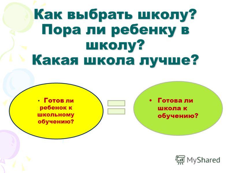 Как выбрать школу? Пора ли ребенку в школу? Какая школа лучше? Готов ли ребенок к школьному обучению? Готова ли школа к обучению?