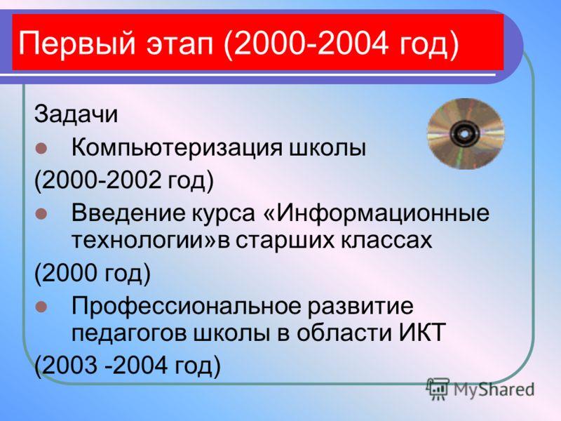 Первый этап (2000-2004 год) Задачи Компьютеризация школы (2000-2002 год) Введение курса «Информационные технологии»в старших классах (2000 год) Профессиональное развитие педагогов школы в области ИКТ (2003 -2004 год)