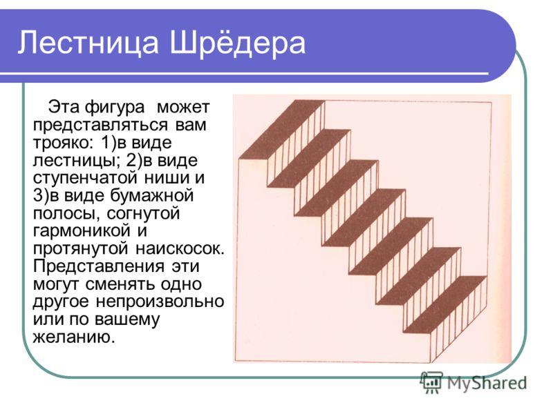 Лестница Шрёдера Эта фигура может представляться вам трояко: 1)в виде лестницы; 2)в виде ступенчатой ниши и 3)в виде бумажной полосы, согнутой гармоникой и протянутой наискосок. Представления эти могут сменять одно другое непроизвольно или по вашему