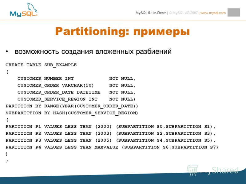 MySQL 5.1 In-Depth | © MySQL AB 2007 | www.mysql.com Partitioning: примеры возможность создания вложенных разбиений CREATE TABLE SUB_EXAMPLE ( CUSTOMER_NUMBER INT NOT NULL, CUSTOMER_ORDER VARCHAR(50) NOT NULL, CUSTOMER_ORDER_DATE DATETIME NOT NULL, C