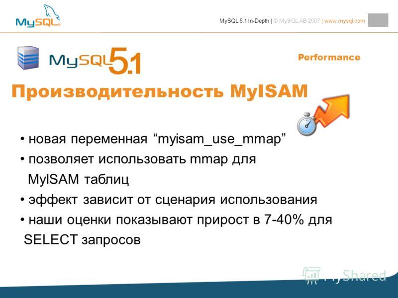 MySQL 5.1 In-Depth | © MySQL AB 2007 | www.mysql.com Производительность MyISAM новая переменная myisam_use_mmap позволяет использовать mmap для MyISAM таблиц эффект зависит от сценария использования наши оценки показывают прирост в 7-40% для SELECT з