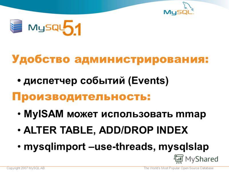 Copyright 2007 MySQL ABThe Worlds Most Popular Open Source Database Удобство администрирования: диспетчер событий (Events) Производительность: MyISAM может использовать mmap ALTER TABLE, ADD/DROP INDEX mysqlimport –use-threads, mysqlslap
