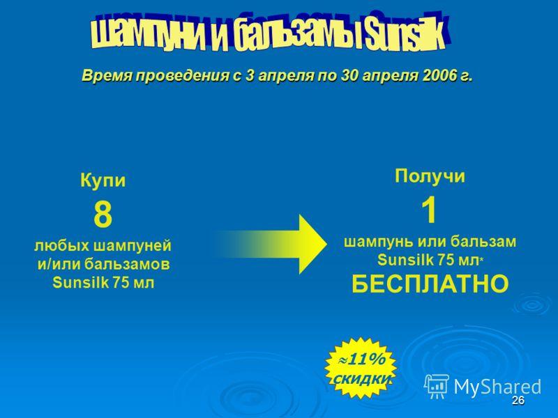 26 Купи 8 любых шампуней и/или бальзамов Sunsilk 75 мл Получи 1 шампунь или бальзам Sunsilk 75 мл * БЕСПЛАТНО 11% скидки 11% скидки Время проведения с 3 апреля по 30 апреля 2006 г.