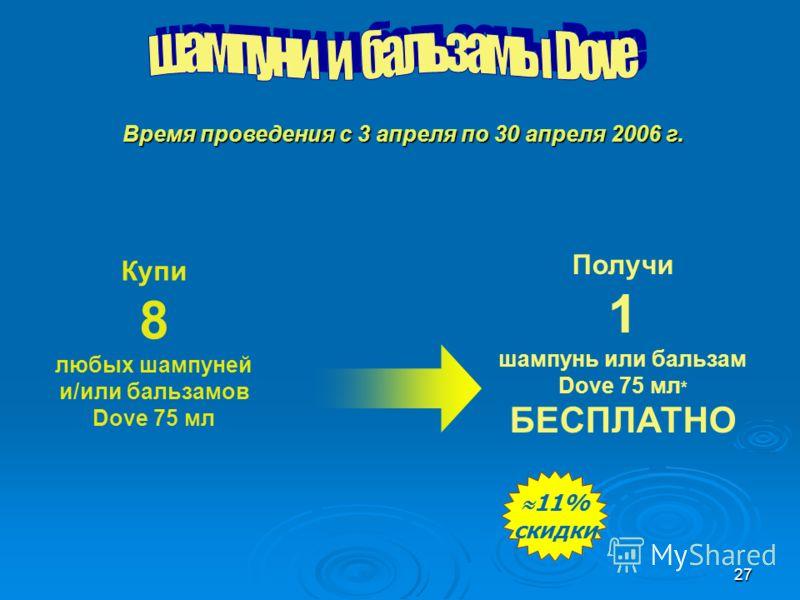 27 Купи 8 любых шампуней и/или бальзамов Dove 75 мл Получи 1 шампунь или бальзам Dove 75 мл * БЕСПЛАТНО 11% скидки 11% скидки Время проведения с 3 апреля по 30 апреля 2006 г.