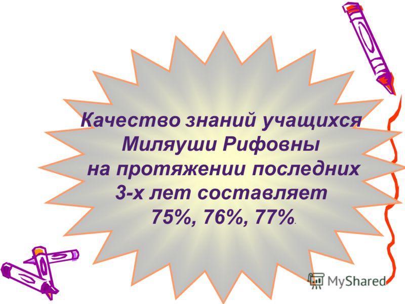Качество знаний учащихся Миляуши Рифовны на протяжении последних 3-х лет составляет 75%, 76%, 77%.