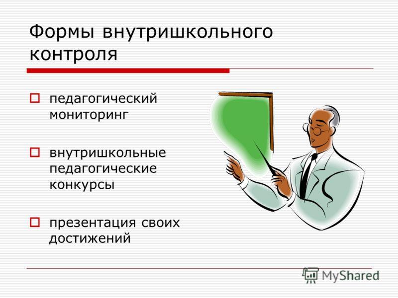 Формы внутришкольного контроля педагогический мониторинг внутришкольные педагогические конкурсы презентация своих достижений