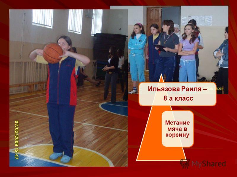 Ильязова Раиля – 8 а класс Метание мяча в корзину