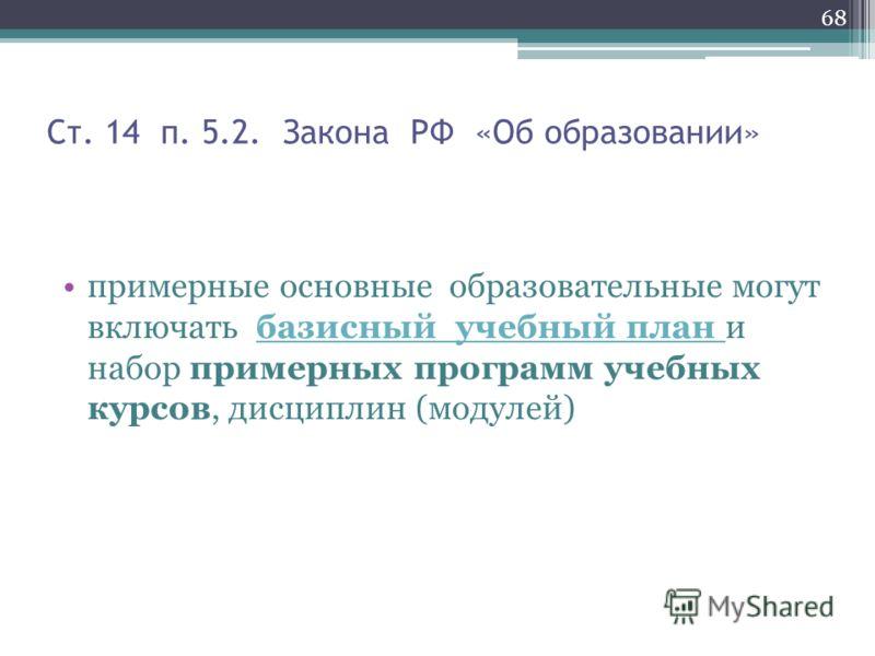 Ст. 14 п. 5.2. Закона РФ «Об образовании» примерные основные образовательные могут включать базисный учебный план и набор примерных программ учебных курсов, дисциплин (модулей)базисный учебный план 68