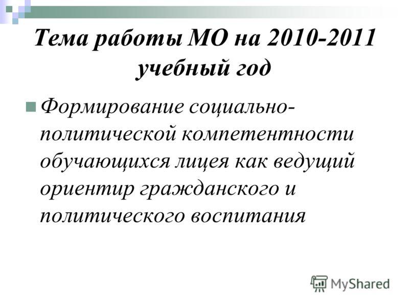 Тема работы МО на 2010-2011 учебный год Формирование социально- политической компетентности обучающихся лицея как ведущий ориентир гражданского и политического воспитания