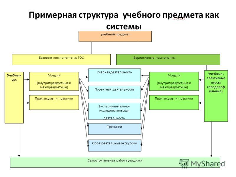 Примерная структура учебного предмета как системы учебный предмет Базовые компоненты из ГОС Учебнык урс Модули (внутрипредметные и межпредметные) Практикумы и практики Самостоятельная работа учащихся Экспериментально- исследовательская деятельность П