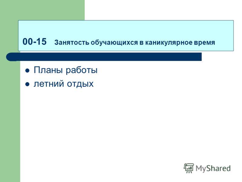 00-15 Занятость обучающихся в каникулярное время Планы работы летний отдых
