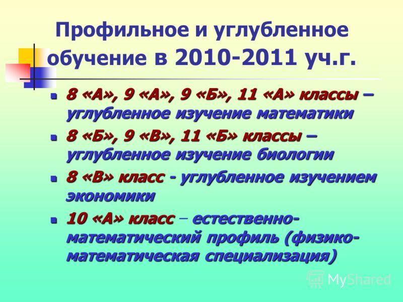Профильное и углубленное обучение в 2010-2011 уч.г. 8 «А», 9 «А», 9 «Б», 11 «А» классы – углубленное изучение математики 8 «А», 9 «А», 9 «Б», 11 «А» классы – углубленное изучение математики 8 «Б», 9 «В», 11 «Б» классы – углубленное изучение биологии