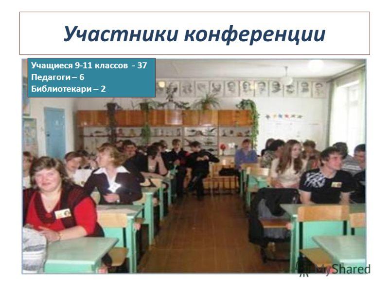 Участники конференции Учащиеся 9-11 классов - 37 Педагоги – 6 Библиотекари – 2