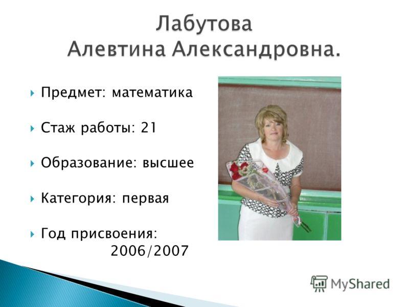 Предмет: математика Стаж работы: 21 Образование: высшее Категория: первая Год присвоения: 2006/2007