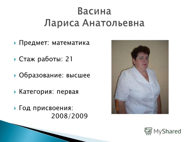 Предмет: математика Стаж работы: 21 Образование: высшее Категория: первая Год присвоения: 2008/2009