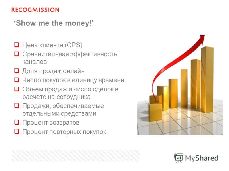 Show me the money! Цена клиента (CPS) Сравнительная эффективность каналов Доля продаж онлайн Число покупок в единицу времени Объем продаж и число сделок в расчете на сотрудника Продажи, обеспечиваемые отдельными средствами Процент возвратов Процент п