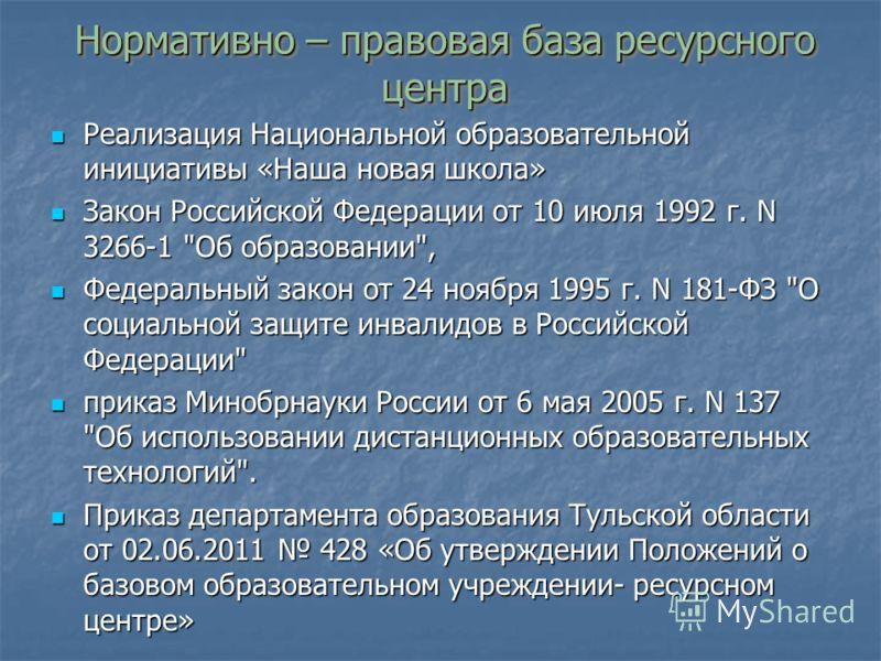 Нормативно – правовая база ресурсного центра Реализация Национальной образовательной инициативы «Наша новая школа» Реализация Национальной образовательной инициативы «Наша новая школа» Закон Российской Федерации от 10 июля 1992 г. N 3266-1