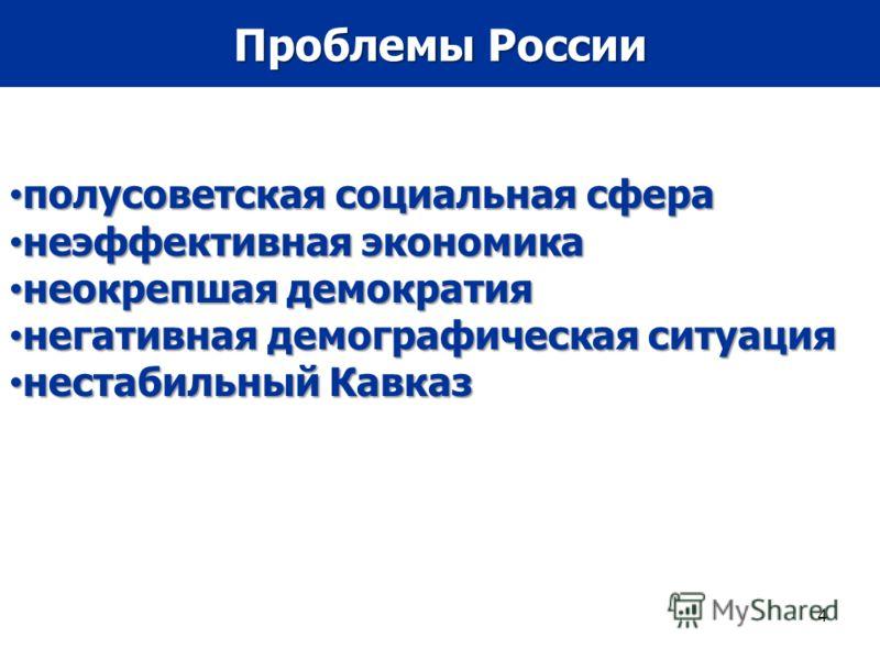 4 Проблемы России полусоветская социальная сфера полусоветская социальная сфера неэффективная экономика неэффективная экономика неокрепшая демократия неокрепшая демократия негативная демографическая ситуация негативная демографическая ситуация нестаб