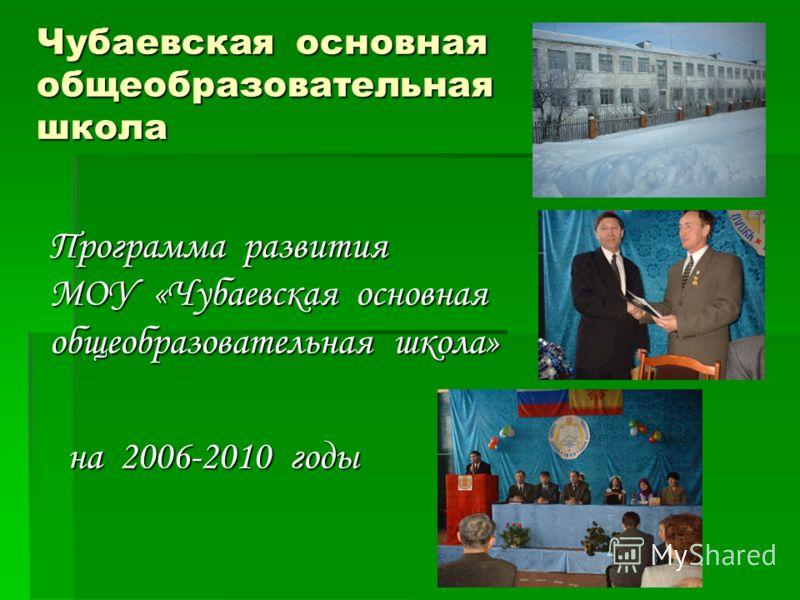 Чубаевская основная общеобразовательная школа Программа развития МОУ «Чубаевская основная общеобразовательная школа» на 2006-2010 годы на 2006-2010 годы