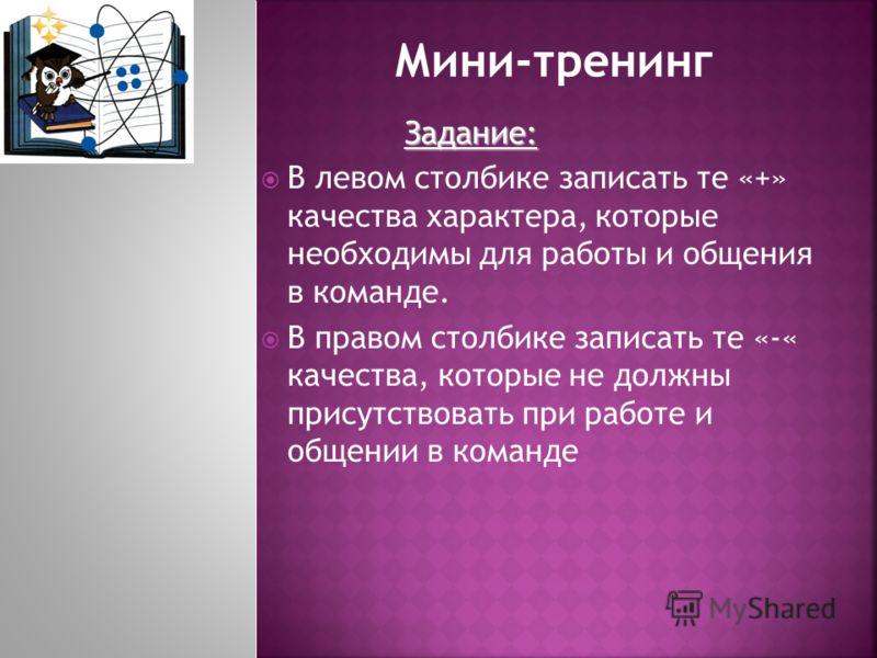 Задание: В левом столбике записать те «+» качества характера, которые необходимы для работы и общения в команде. В правом столбике записать те «-« качества, которые не должны присутствовать при работе и общении в команде