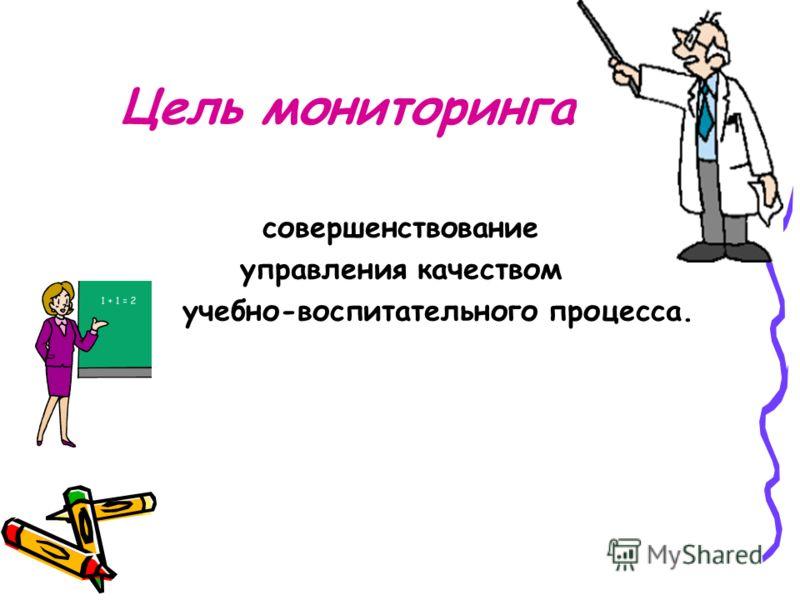 Цель мониторинга совершенствование управления качеством учебно-воспитательного процесса. -