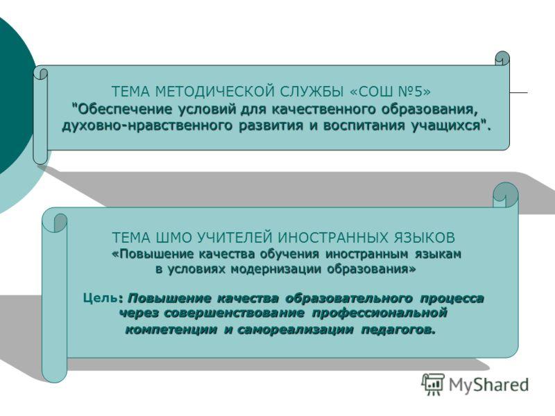 ТЕМА МЕТОДИЧЕСКОЙ СЛУЖБЫ «СОШ 5»