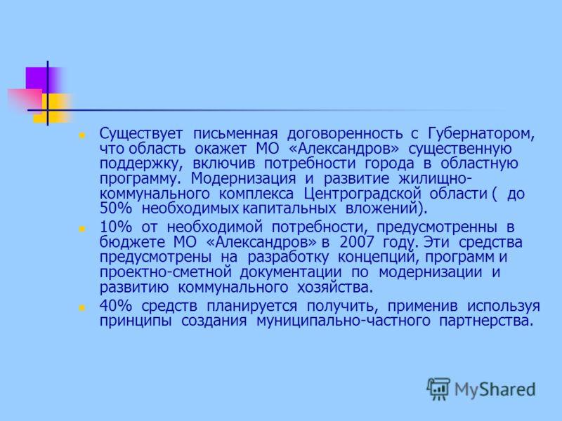 Существует письменная договоренность с Губернатором, что область окажет МО «Александров» существенную поддержку, включив потребности города в областную программу. Модернизация и развитие жилищно- коммунального комплекса Центроградской области ( до 50