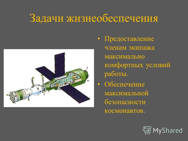 Задачи жизнеобеспечения Предоставление членам экипажа максимально комфортных условий работы. Обеспечение максимальной безопасности космонавтов.