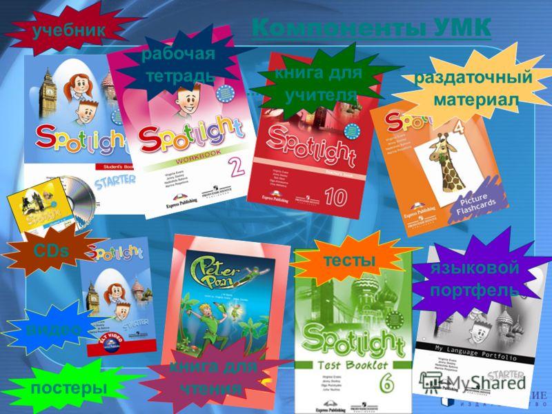 учебник рабочая тетрадь книга для учителя раздаточный материал языковой портфель тесты книга для чтения видео CDs постеры Компоненты УМК