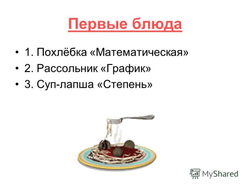 Первые блюда 1. Похлёбка «Математическая» 2. Рассольник «График» 3. Суп-лапша «Степень»