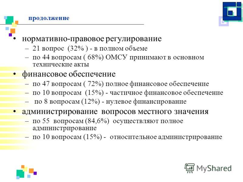 продолжение нормативно-правовое регулирование –21 вопрос (32% ) - в полном объеме –по 44 вопросам ( 68%) ОМСУ принимают в основном технические акты финансовое обеспечение –по 47 вопросам ( 72%) полное финансовое обеспечение –по 10 вопросам (15%) - ча
