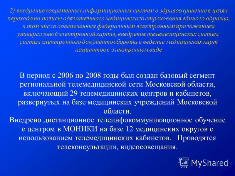 В период с 2006 по 2008 годы был создан базовый сегмент региональной телемедицинской сети Московской области, включающий 29 телемедицинских центров и кабинетов, развернутых на базе медицинских учреждений Московской области. Внедрено дистанционное тел