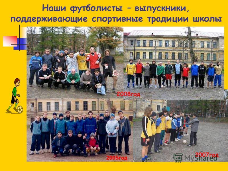 Наши футболисты – выпускники, поддерживающие спортивные традиции школы 2004год2003год 2005год 2007год 2008год