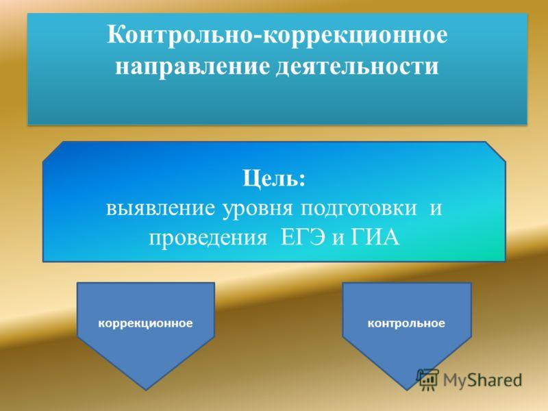 Контрольно-коррекционное направление деятельности Цель: выявление уровня подготовки и проведения ЕГЭ и ГИА коррекционное контрольное