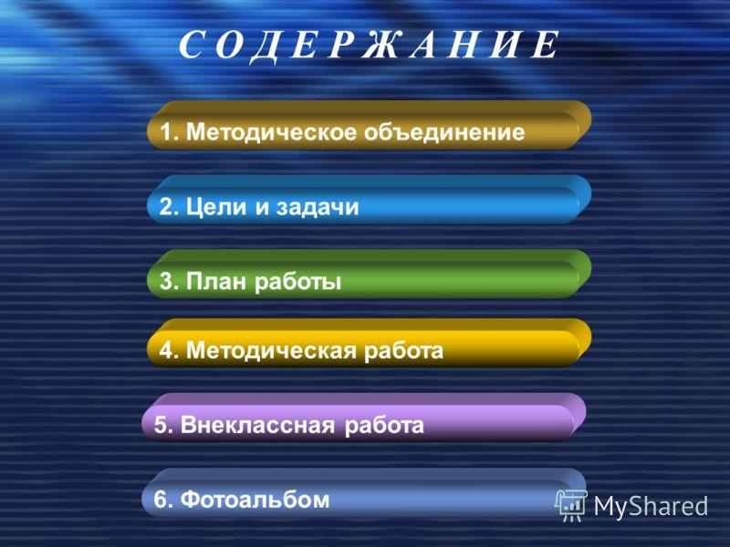 1. Методическое объединение 2. Цели и задачи 3. План работы 6. Фотоальбом С О Д Е Р Ж А Н И Е 5. Внеклассная работа 4. Методическая работа