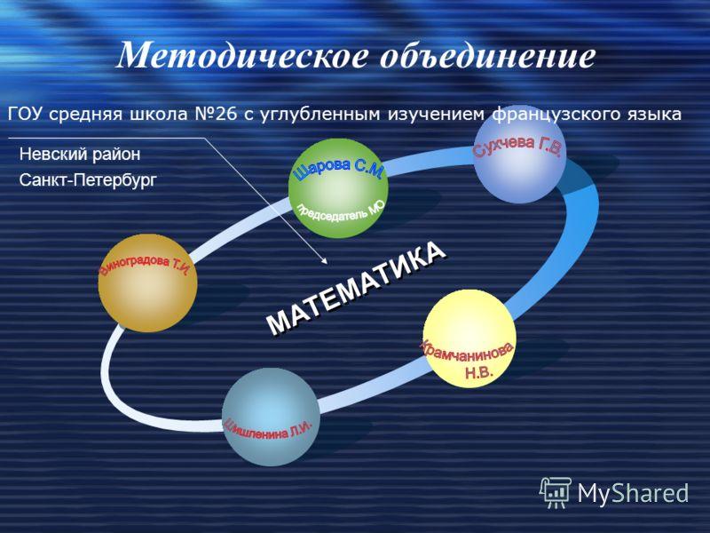 МАТЕМАТИКА ГОУ средняя школа 26 c углубленным изучением французского языка Методическое объединение Невский район Санкт-Петербург