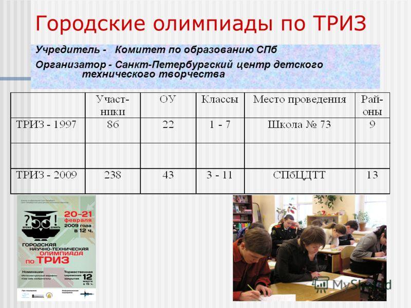 Городские олимпиады по ТРИЗ Учредитель - Комитет по образованию СПб Организатор - Санкт-Петербургский центр детского технического творчества